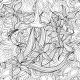 Kleurende pagina met bloemen en kolibrie stock illustratie