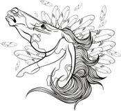 Kleurende pagina met een portret van een paard Royalty-vrije Stock Afbeeldingen