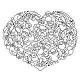 Kleurende pagina met hart van zwarte witte engelen en cupido's Auto vector illustratie