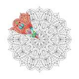 Kleurende Pagina met Mandala1 Stock Afbeeldingen