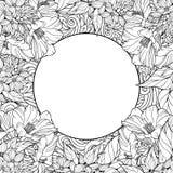 Kleurende pagina met naadloos patroon van bloemen en plaats voor tex vector illustratie
