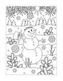 Kleurende pagina met sneeuwman openlucht lopen royalty-vrije illustratie