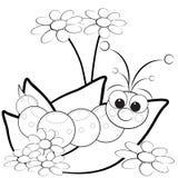 Kleurende pagina - Rups en bloemen Royalty-vrije Stock Afbeeldingen