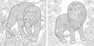 Kleurende pagina's Kleurend boek voor volwassenen Kleuringsbeelden met panter en leeuw Antistressschetstekening uit de vrije hand stock illustratie