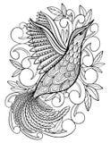 Kleurende pagina's Kleurend boek voor volwassenen Mooi malplaatje met kunstwerk Schoolonderwijs Vogelkolibrie stock illustratie
