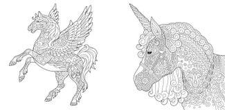 Kleurende pagina's met eenhoorn en pegasus stock illustratie