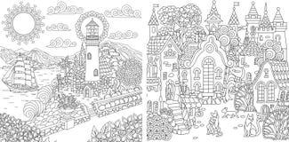 Kleurende pagina's met stadslandschappen royalty-vrije illustratie