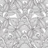 Kleurende pagina's voor volwassenen De Elementen van Seamleshenna mehndi doodles abstract floral Stock Afbeelding