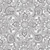 Kleurende pagina's voor volwassenen De Elementen van Seamleshenna mehndi doodles abstract floral Stock Afbeeldingen
