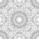 Kleurende pagina's voor volwassenen Decoratief hand getrokken sier de krul vector schetsmatig naadloos patroon van de krabbelaard Stock Foto