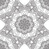 Kleurende pagina's voor volwassenen Decoratief hand getrokken sier de krul vector schetsmatig naadloos patroon van de krabbelaard Royalty-vrije Stock Afbeelding