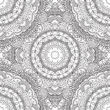 Kleurende pagina's voor volwassenen Decoratief hand getrokken sier de krul vector schetsmatig naadloos patroon van de krabbelaard Royalty-vrije Stock Foto