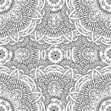 Kleurende pagina's voor volwassenen Decoratief hand getrokken sier de krul vector schetsmatig naadloos patroon van de krabbelaard Royalty-vrije Stock Afbeeldingen