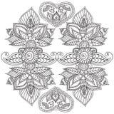 Kleurende pagina's voor volwassenen Henna Mehndi Doodles Abstract Floral-Elementen Stock Fotografie