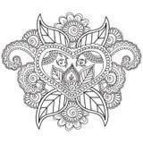 Kleurende pagina's voor volwassenen Henna Mehndi Doodles Abstract Floral-Elementen Royalty-vrije Stock Foto's