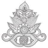 Kleurende pagina's voor volwassenen Henna Mehndi Doodles Abstract Floral-Elementen Stock Afbeeldingen