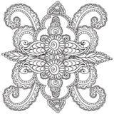 Kleurende pagina's voor volwassenen Henna Mehndi Doodles Abstract Floral-Elementen Stock Afbeelding