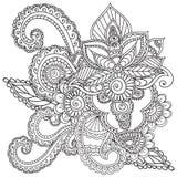 Kleurende pagina's voor volwassenen Henna Mehndi Doodles Abstract Floral-Elementen Stock Foto's
