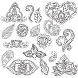 Kleurende pagina's voor volwassenen Henna Mehndi Doodles Abstract Floral-Elementen Royalty-vrije Stock Afbeeldingen