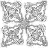 Kleurende pagina's voor volwassenen Henna Mehndi Doodles Abstract Floral-Elementen Stock Foto