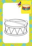 Kleurende pagina Trommel en trommelstokken Stock Afbeeldingen