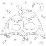 Kleurende pagina Twee leuke beeldverhaalvogels op tak royalty-vrije stock foto's