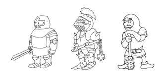 Kleurende pagina van beeldverhaal drie middeleeuwse ridders die voor Ridder Tournament prepering stock foto's