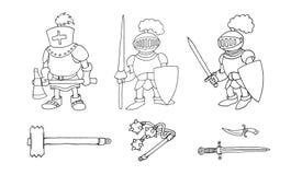 Kleurende pagina van beeldverhaal drie middeleeuwse ridders die voor Ridder Tournament prepering stock afbeelding