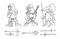 Kleurende pagina van beeldverhaal drie middeleeuwse ridders die voor Ridder Tournament prepering royalty-vrije stock foto's