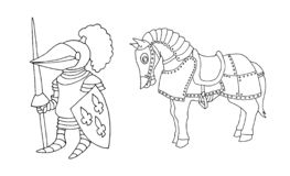 Kleurende pagina van beeldverhaal het middeleeuwse ridder prepering aan Ridder Tournament royalty-vrije stock fotografie