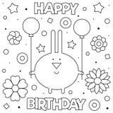 Kleurende pagina Vector illustratie Konijntje met ballons vector illustratie