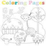 Kleurende pagina voor jonge geitjes, alfabetreeks, brief G Royalty-vrije Stock Afbeelding