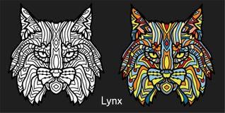 Kleurende pagina voor volwassenen - lynx Zwart wit hand getrokken krabbeldier Etnische gevormde vectorillustratie Stock Afbeeldingen