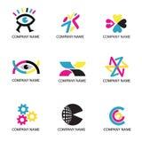 Kleurendruk, cmyk kleurenpictogrammen Stock Afbeeldingen
