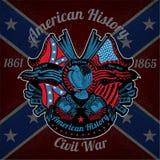 kleurendruk met adelaar en uitstekende wapens op Verbonden vlagachtergrond Stock Afbeelding