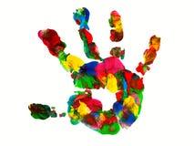 Kleurendruk van de hand van een klein kind stock foto's