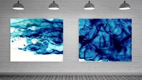 Kleurenexplosies op Canvas bij kunstgalerie stock videobeelden
