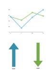 Kleurengrafiek met toenemende winstenlijnen met twee pijlen royalty-vrije illustratie