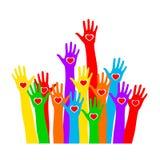 Kleurenhanden met omhoog hart royalty-vrije illustratie