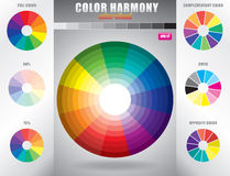 Kleurenharmonie/Kleurenwiel met schaduw van kleuren Stock Afbeelding
