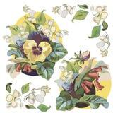 Kleurenillustratie met bloemboeket en vogel royalty-vrije illustratie