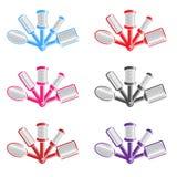 kleurenillustratie met verscheidene haarborstels Stock Afbeeldingen