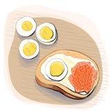 Kleurenillustratie van brood met boter op een plaat Stock Foto