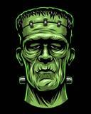 Kleurenillustratie van Frankenstein-hoofd royalty-vrije illustratie
