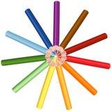 Kleurenkleurpotloden Stock Foto's