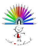 Kleurenkleurpotloden Stock Illustratie
