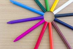 12 kleurenkleurpotloden Royalty-vrije Stock Foto