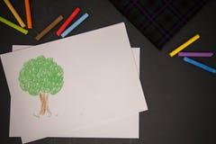 Kleurenkrijt en beeld Royalty-vrije Stock Fotografie