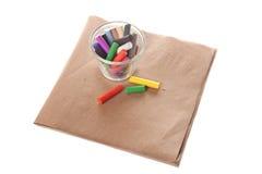 Kleurenkrijt op papier Stock Fotografie