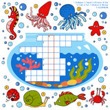 Kleurenkruiswoordraadsel, onderwijsspel voor kinderen over vissen stock illustratie